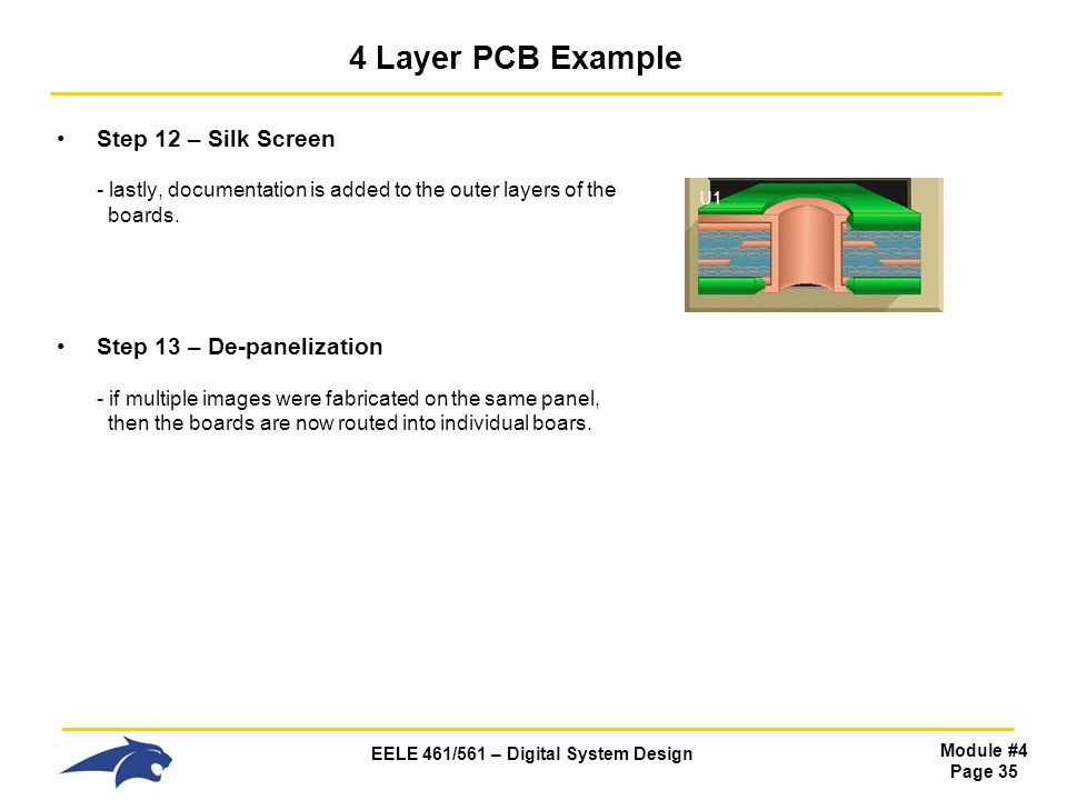 4 Layer PCB Example Step 12 – Silk Screen - lastly, documentation is added to the outer layers of the boards.