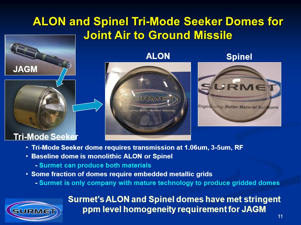 ALON and Spinel Tri-Mode Seeker Domes for Joint Air to Ground Missile