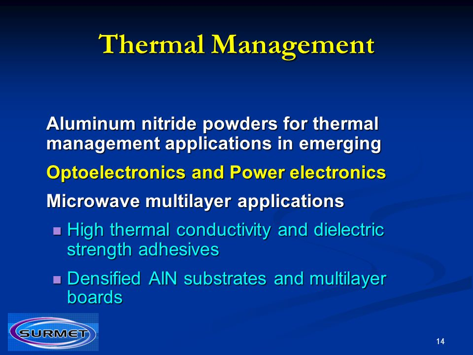 Thermal Management Aluminum nitride powders for thermal management applications in emerging. Optoelectronics and Power electronics.