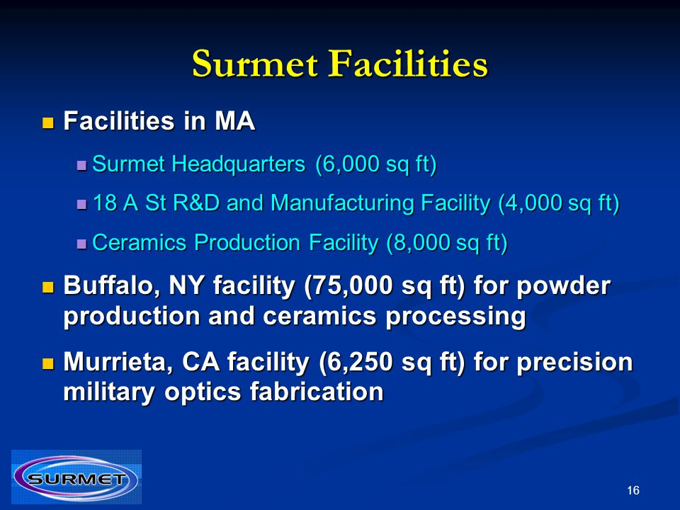 Surmet Facilities Facilities in MA