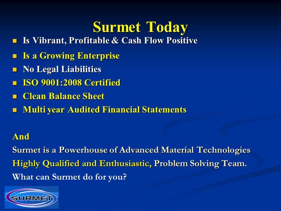 Surmet Today Is Vibrant, Profitable & Cash Flow Positive