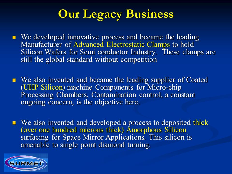 Our Legacy Business