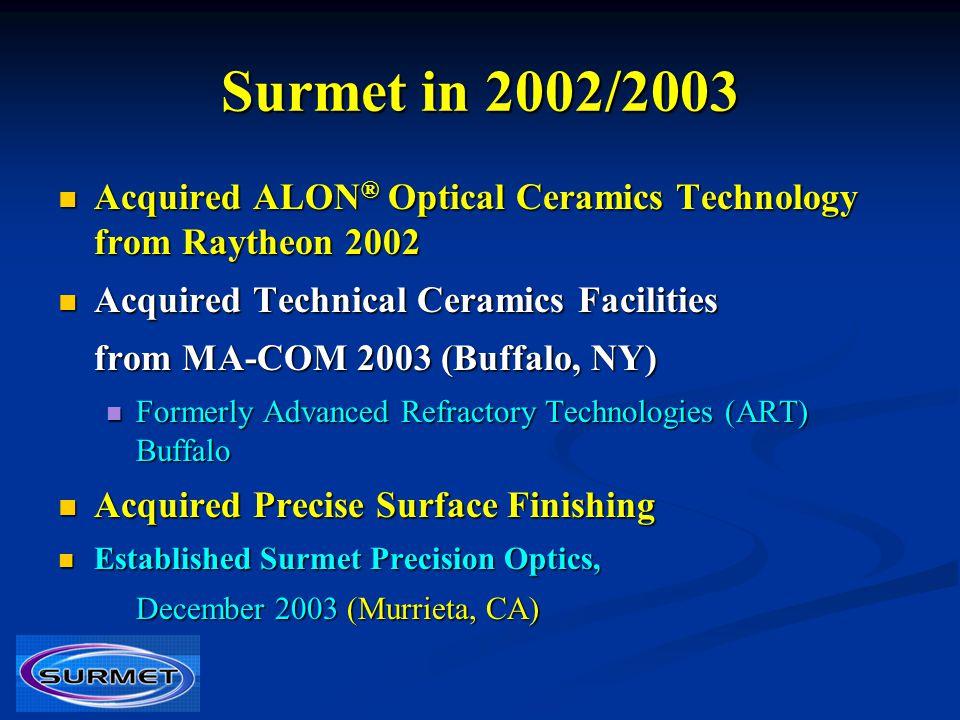 Surmet in 2002/2003 Acquired ALON® Optical Ceramics Technology from Raytheon 2002. Acquired Technical Ceramics Facilities.