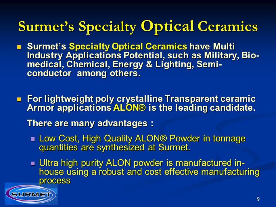 Surmet's Specialty Optical Ceramics