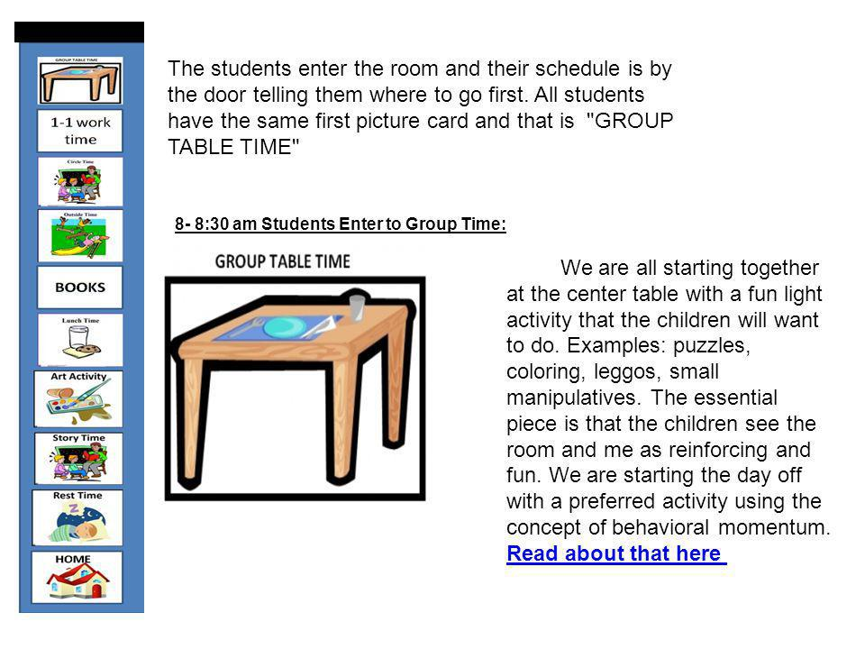 The students enter the room and their schedule is by the door telling them where to go first. All students have the same first picture card and that is GROUP TABLE TIME