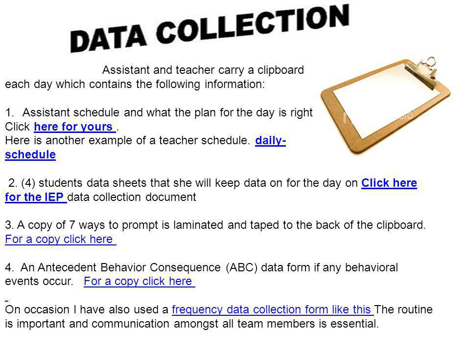 Assistant and teacher carry a clipboard
