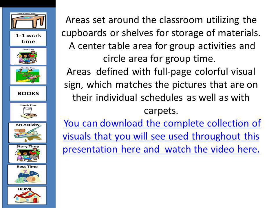 Areas set around the classroom utilizing the cupboards or shelves for storage of materials.