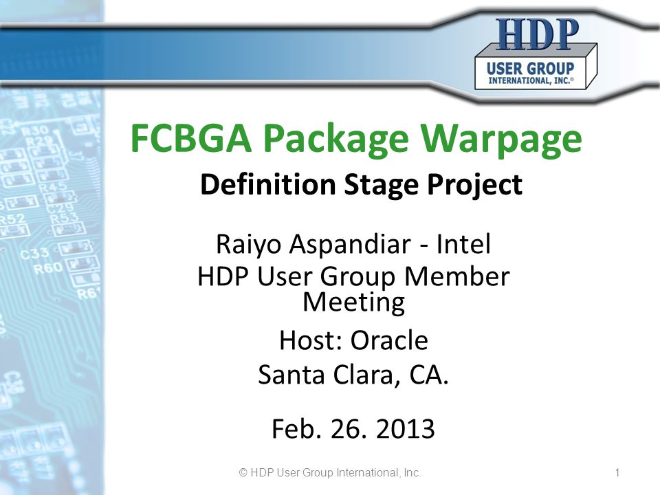 FCBGA Package Warpage Definition Stage Project