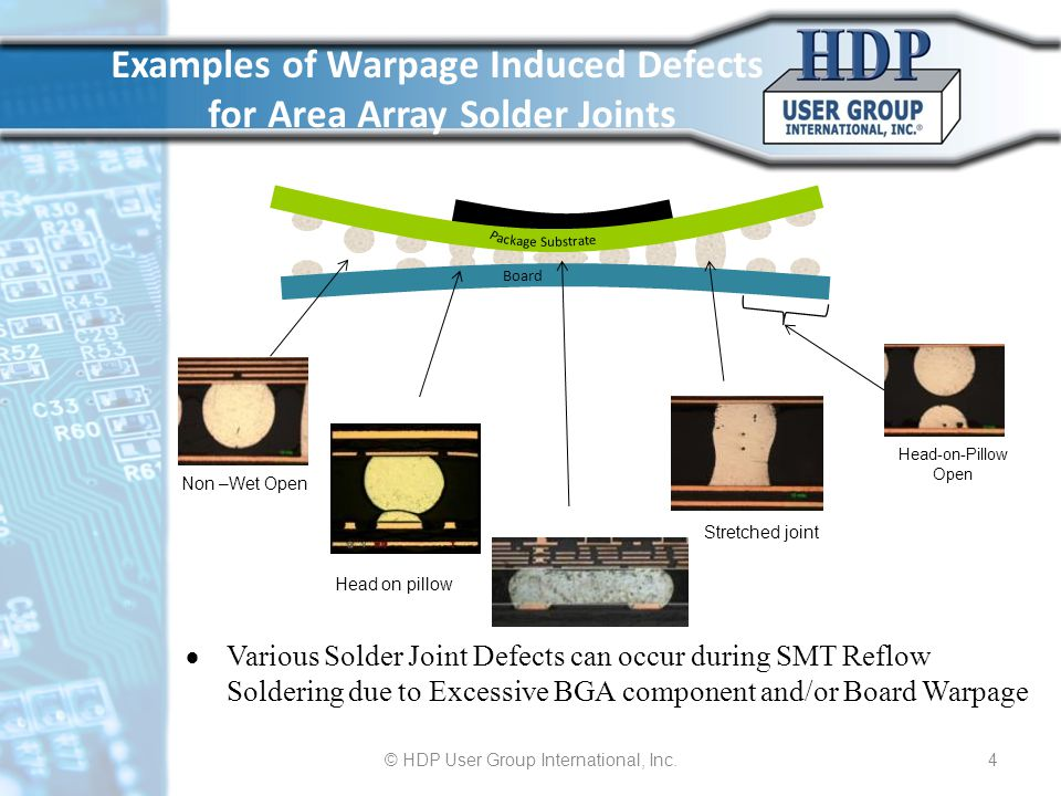 Examples of Warpage Induced Defects for Area Array Solder Joints
