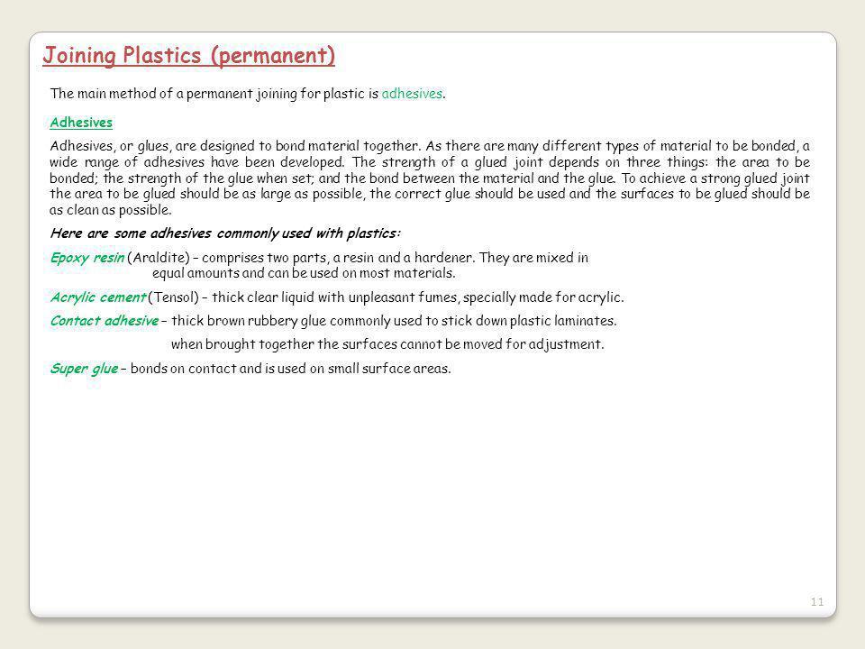 Joining Plastics (permanent)