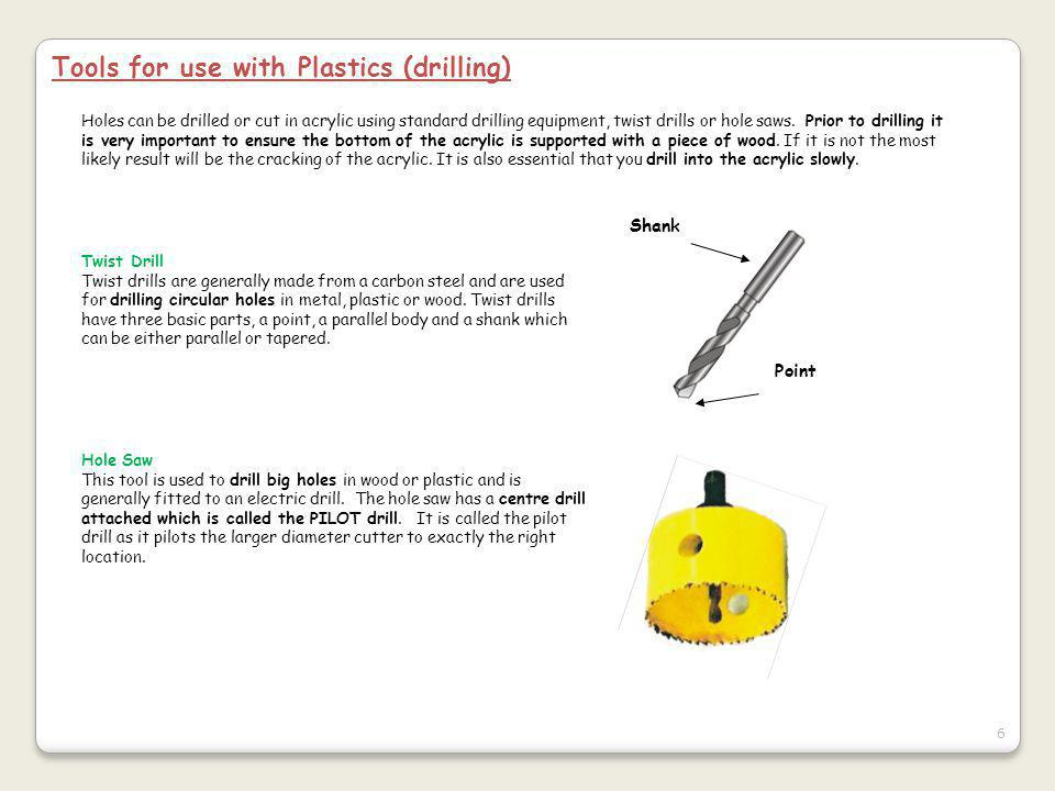Tools for use with Plastics (drilling)