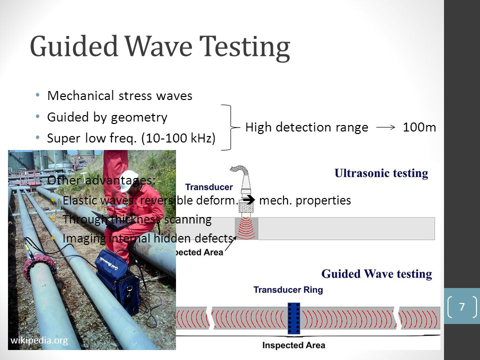 Guided Wave Testing Mechanical stress waves Guided by geometry