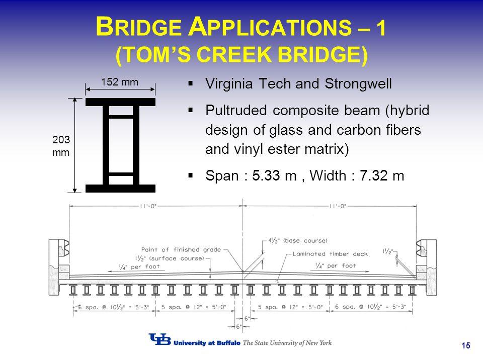 BRIDGE APPLICATIONS – 1 (TOM'S CREEK BRIDGE)