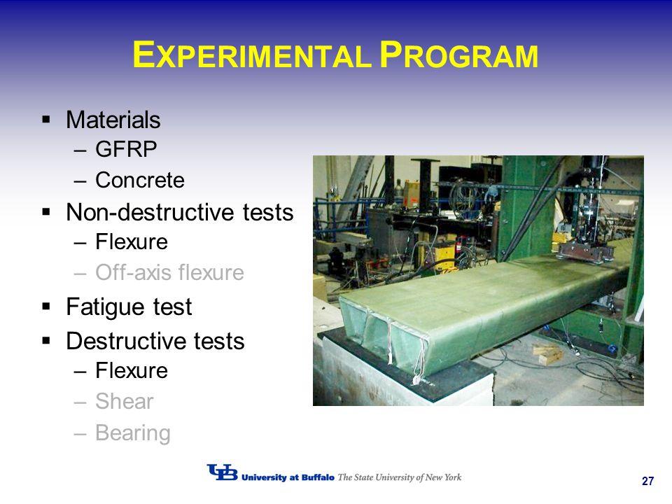 EXPERIMENTAL PROGRAM Materials Non-destructive tests Fatigue test