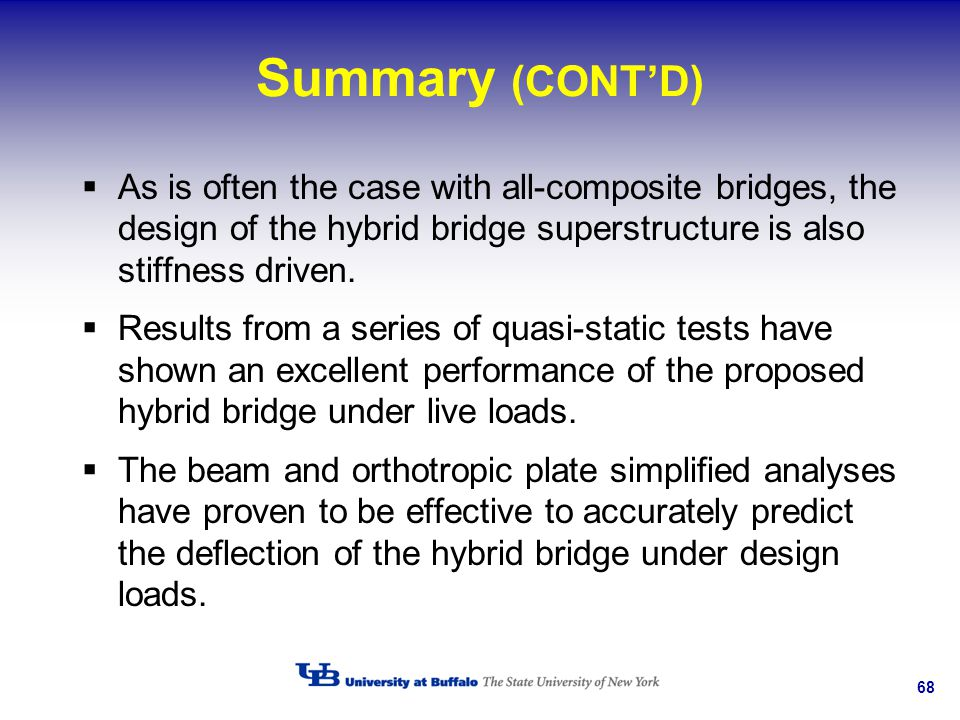 Summary (CONT'D) As is often the case with all-composite bridges, the design of the hybrid bridge superstructure is also stiffness driven.