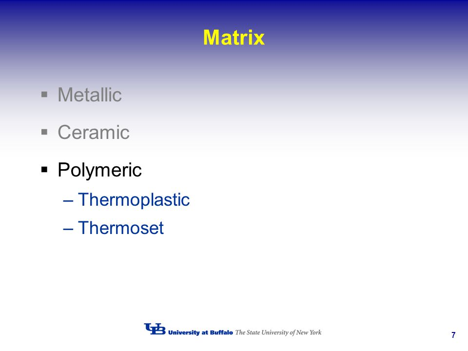 Matrix Metallic Ceramic Polymeric Thermoplastic Thermoset
