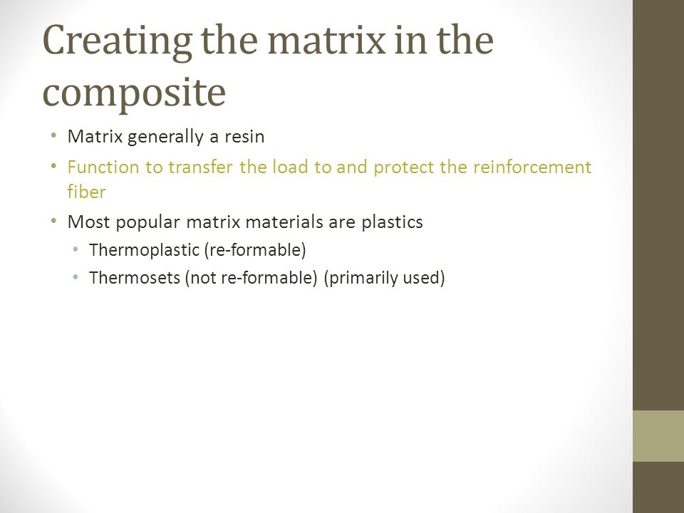 Creating the matrix in the composite