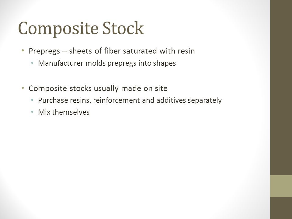 Composite Stock Prepregs – sheets of fiber saturated with resin