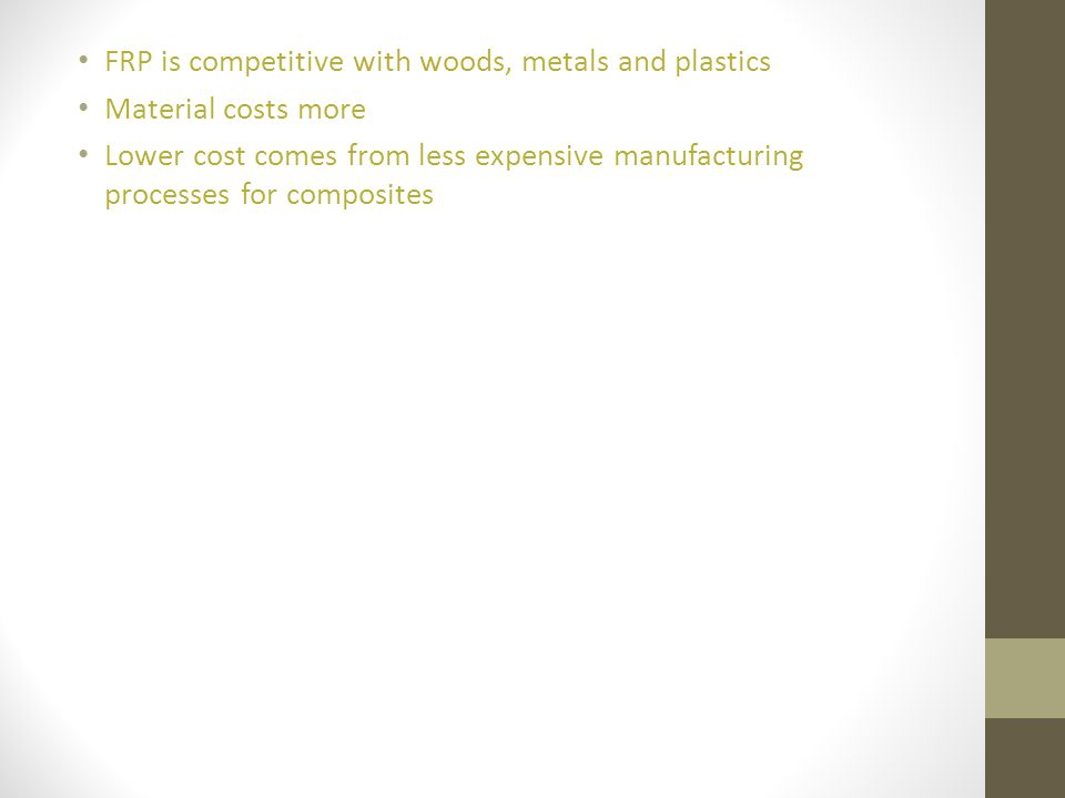 FRP is competitive with woods, metals and plastics