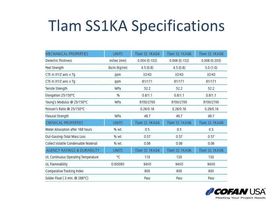 Tlam SS1KA Specifications