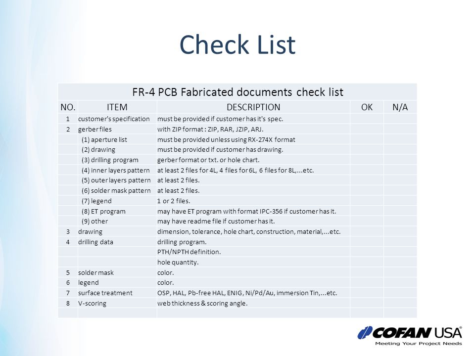 FR-4 PCB Fabricated documents check list