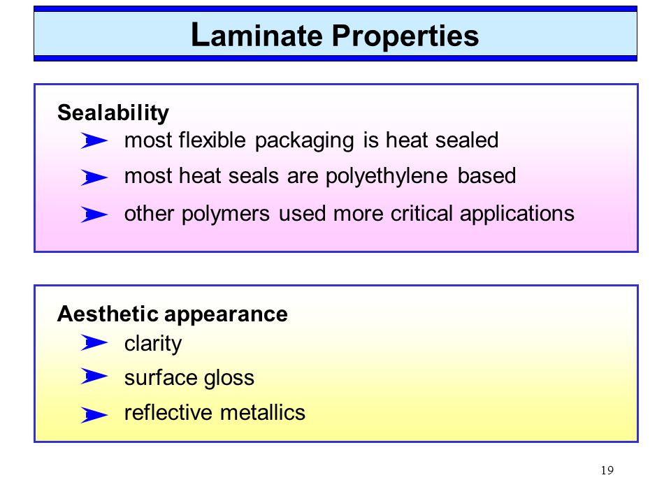Laminate Properties Sealability most flexible packaging is heat sealed