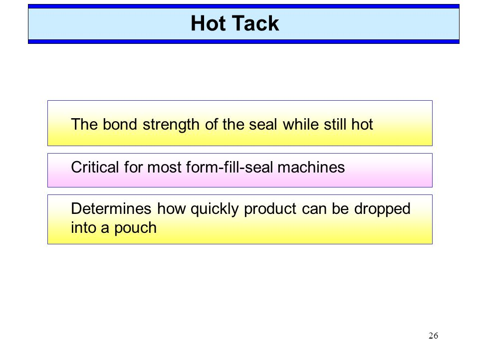 Hot Tack The bond strength of the seal while still hot