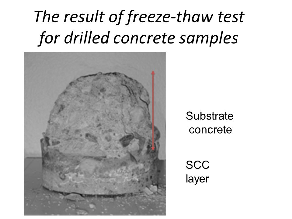 The result of freeze-thaw test for drilled concrete samples