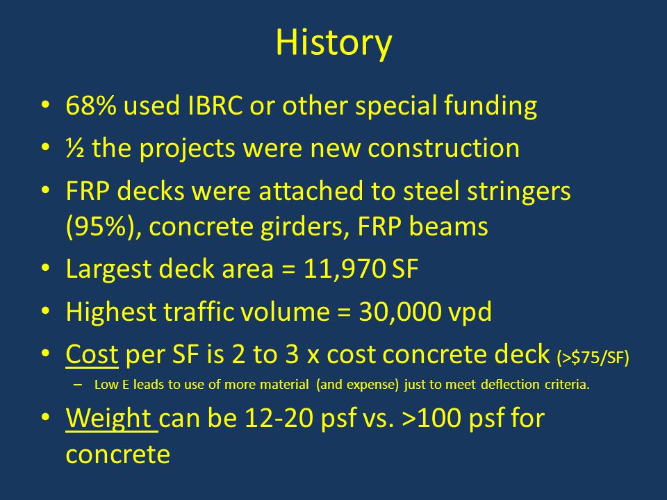 History 68% used IBRC or other special funding
