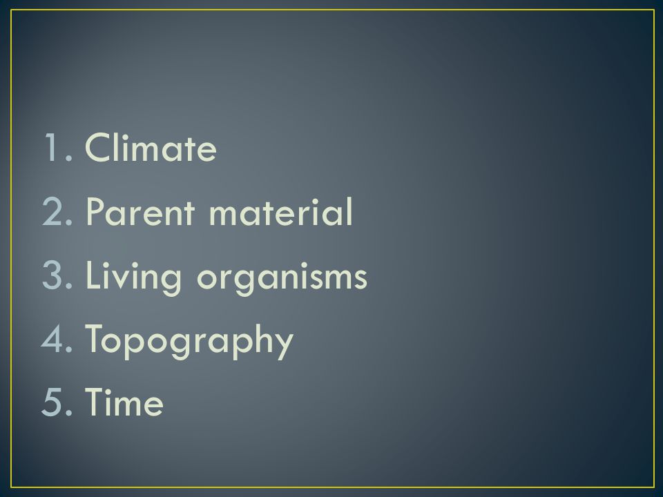 Climate Parent material Living organisms Topography Time