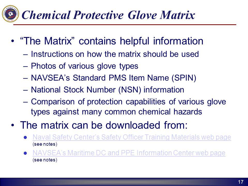Chemical Protective Glove Matrix