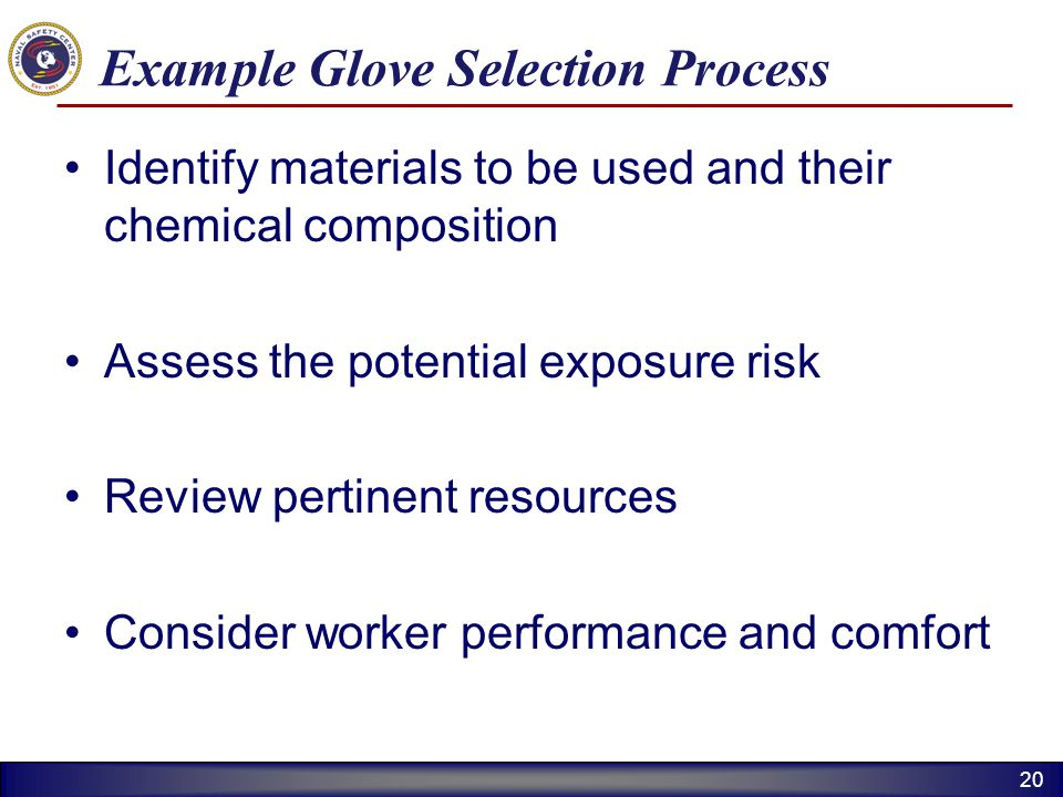 Example Glove Selection Process