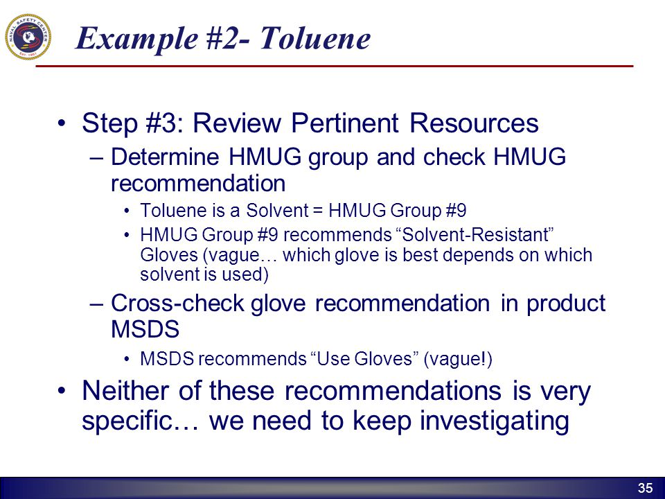 Example #2- Toluene Step #3: Review Pertinent Resources