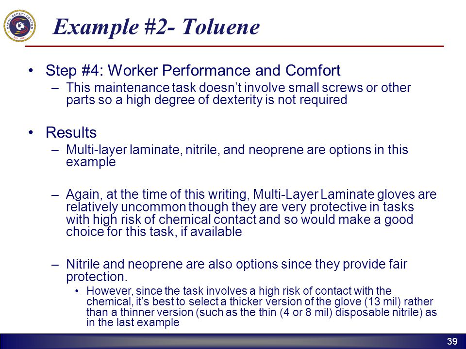 Example #2- Toluene Step #4: Worker Performance and Comfort Results