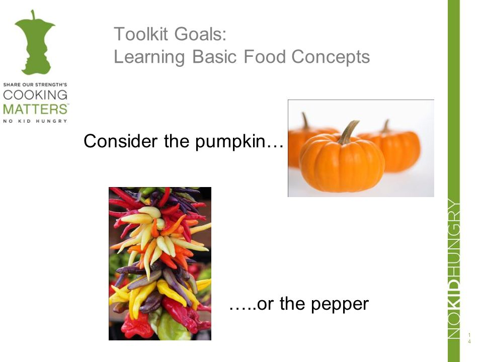 Toolkit Goals: Learning Basic Food Concepts