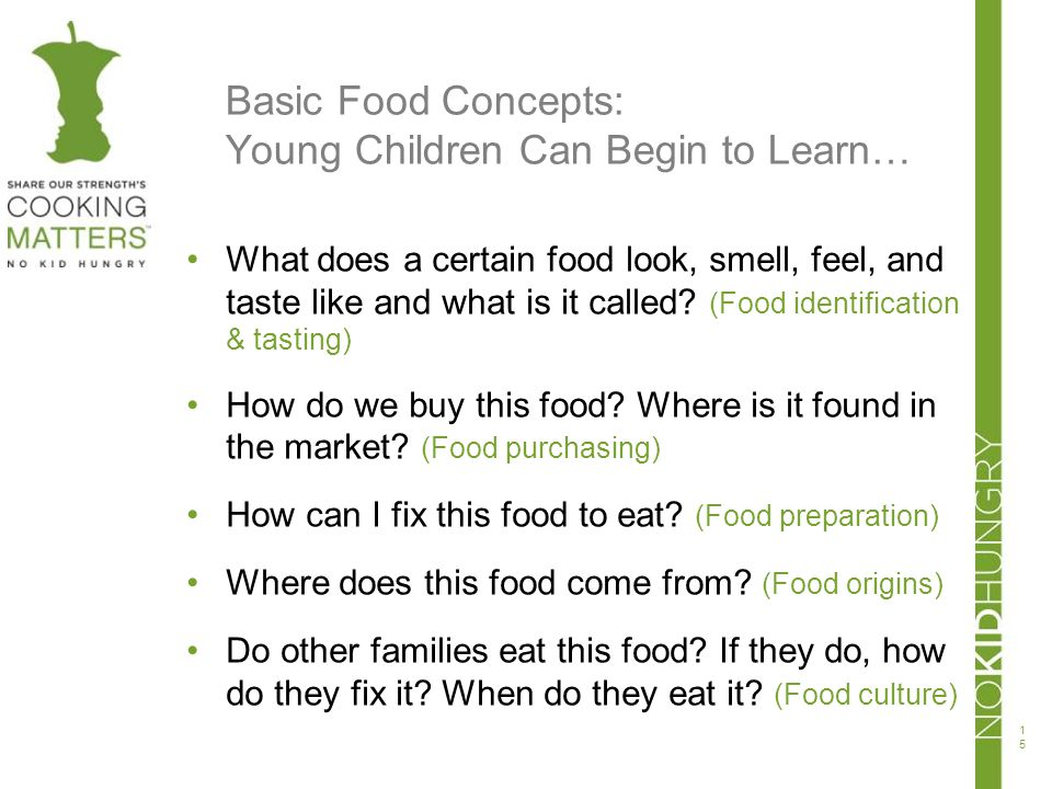 Basic Food Concepts: Young Children Can Begin to Learn…