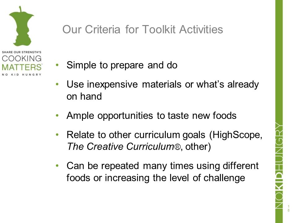 Our Criteria for Toolkit Activities