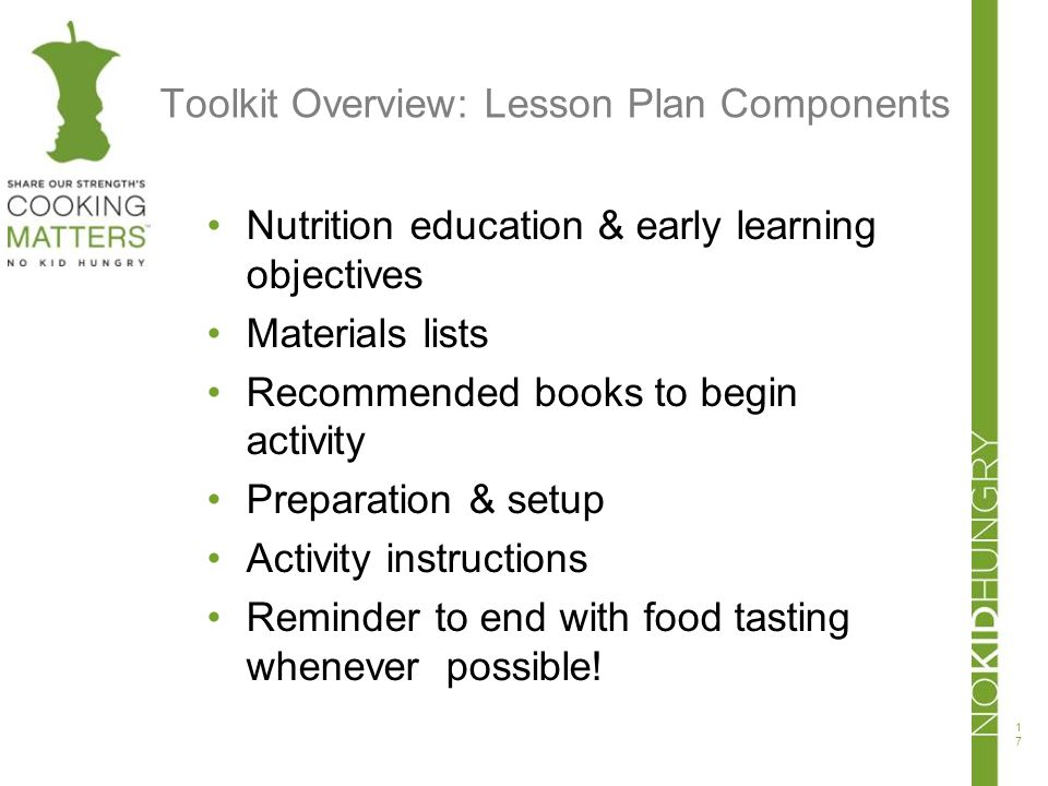 Toolkit Overview: Lesson Plan Components
