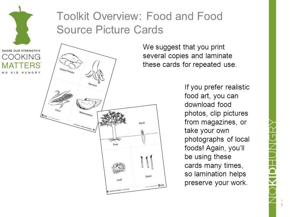 Toolkit Overview: Food and Food Source Picture Cards