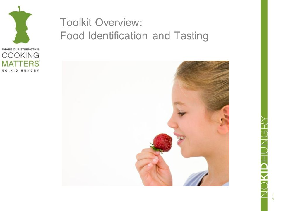 Toolkit Overview: Food Identification and Tasting