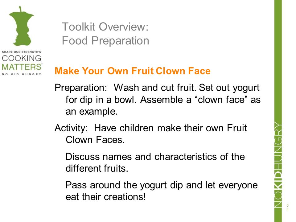 Toolkit Overview: Food Preparation