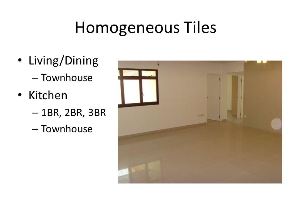 Homogeneous Tiles Living/Dining Townhouse Kitchen 1BR, 2BR, 3BR