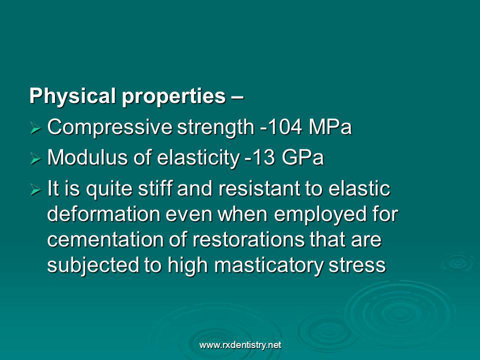 Compressive strength -104 MPa Modulus of elasticity -13 GPa