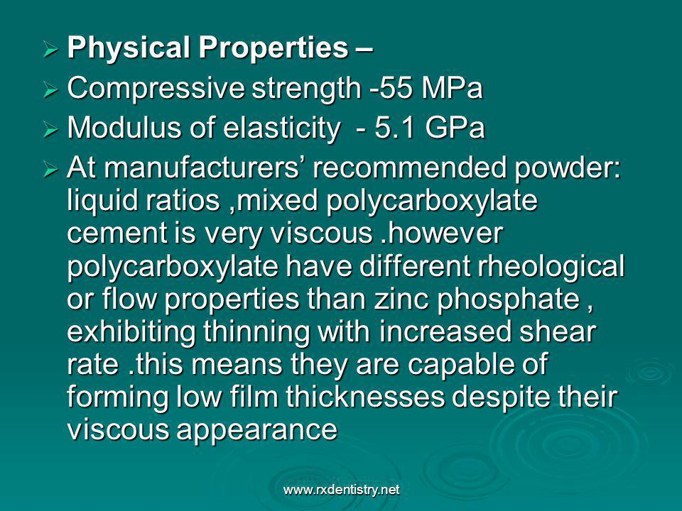Compressive strength -55 MPa Modulus of elasticity - 5.1 GPa