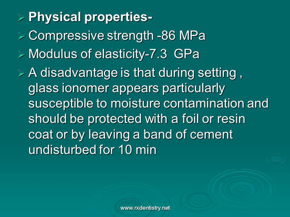 Compressive strength -86 MPa Modulus of elasticity-7.3 GPa