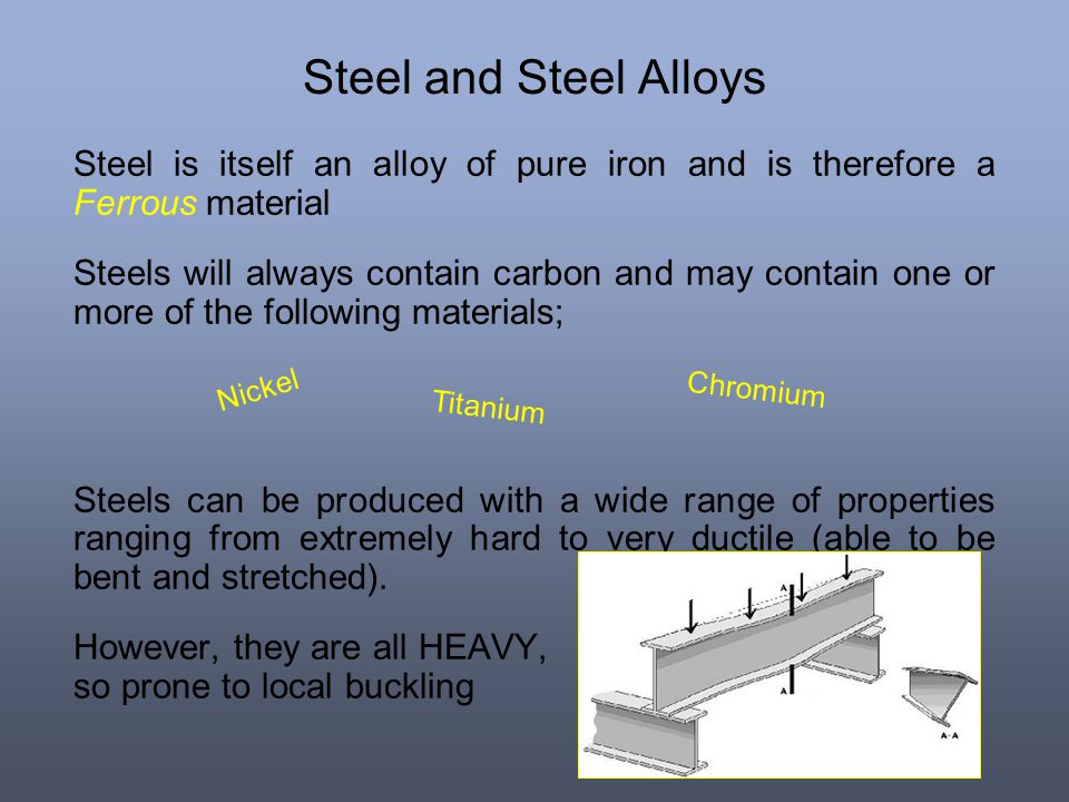 Steel and Steel Alloys Steel is itself an alloy of pure iron and is therefore a Ferrous material.