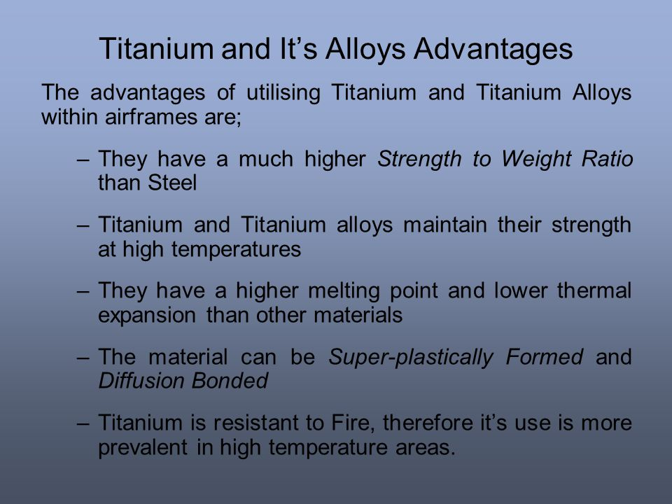 Titanium and It's Alloys Advantages