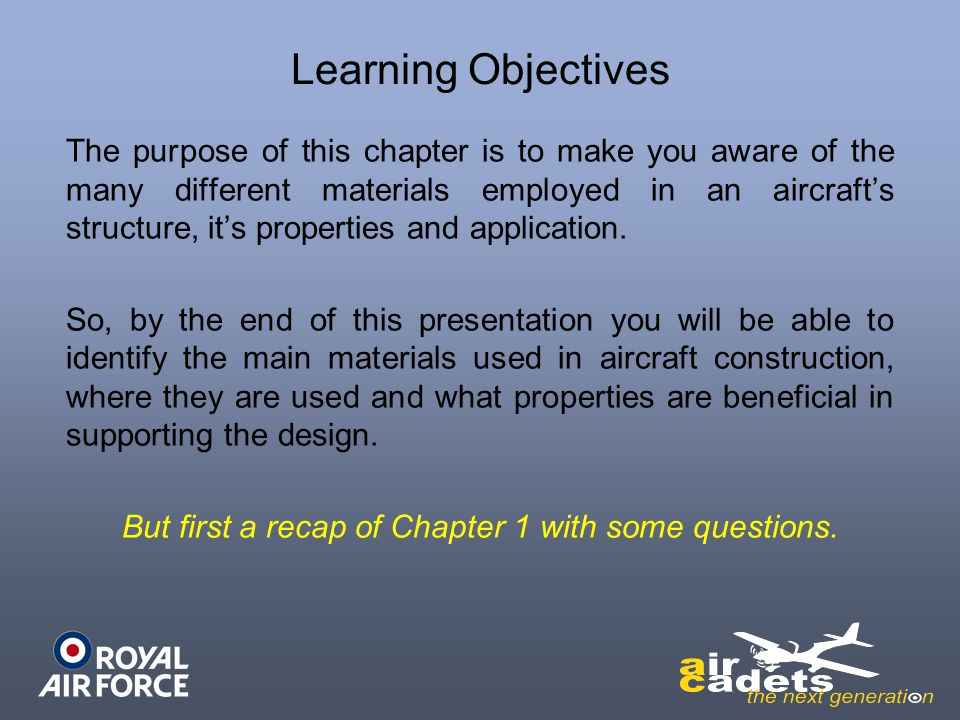 But first a recap of Chapter 1 with some questions.