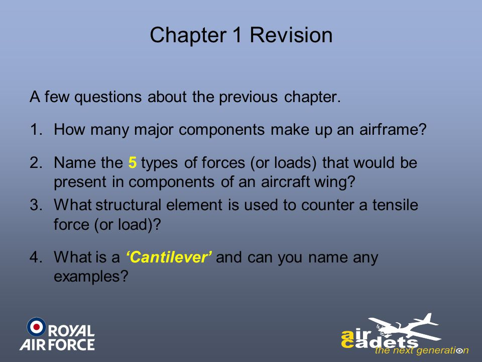Chapter 1 Revision A few questions about the previous chapter.