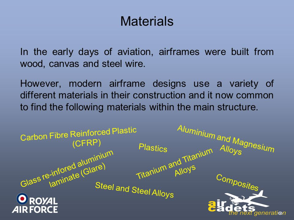 Materials In the early days of aviation, airframes were built from wood, canvas and steel wire.
